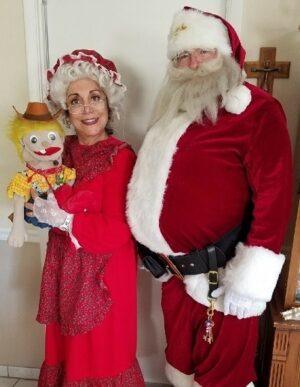 Santa_Mrs Claus with a special puppet named Milo