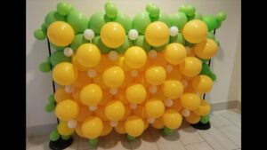 Yellow and Green Balloon Wall Decorations created by Zippy Entertainment