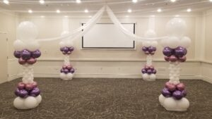 Purple and White Balloon Decorations for Dance Floor