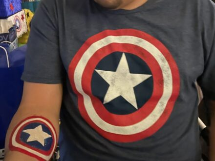 Full Arm Superhero_Captain American_Face Painting_Zippy Entertainment